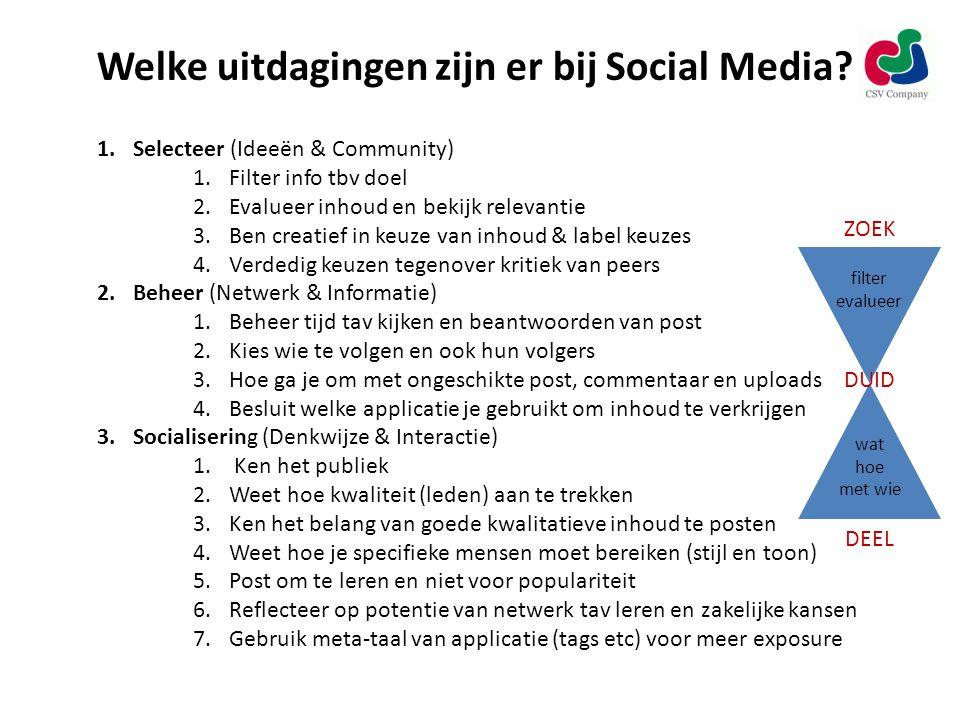 Welke uitdagingen zijn er bij Social Media.