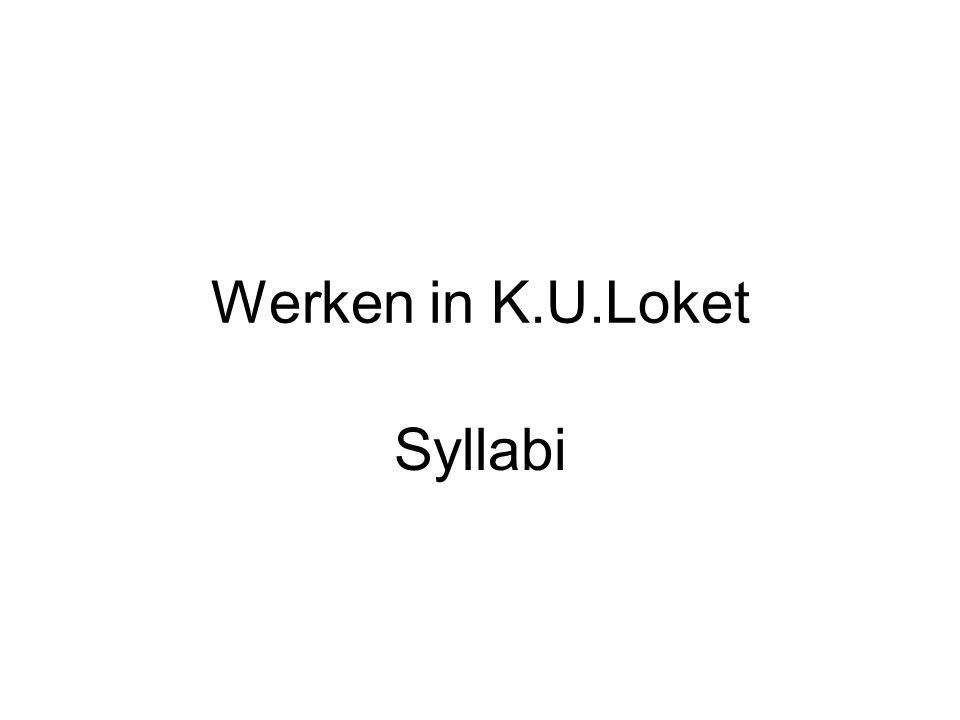 Werken in K.U.Loket Syllabi