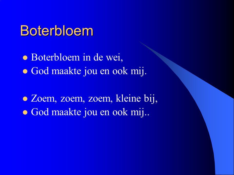 Boterbloem Boterbloem in de wei, God maakte jou en ook mij. Zoem, zoem, zoem, kleine bij, God maakte jou en ook mij..