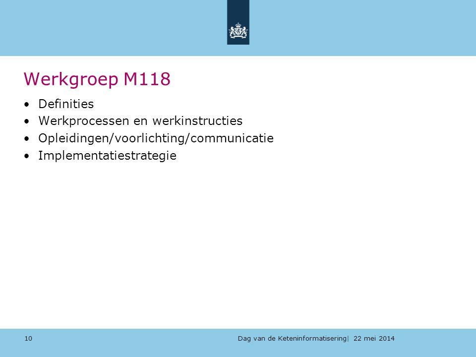 Dag van de Keteninformatisering| 22 mei 2014 Werkgroep M118 Definities Werkprocessen en werkinstructies Opleidingen/voorlichting/communicatie Implemen
