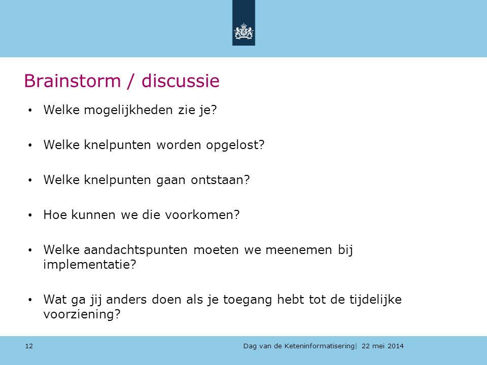 Dag van de Keteninformatisering| 22 mei 2014 Brainstorm / discussie 12 Welke mogelijkheden zie je? Welke knelpunten worden opgelost? Welke knelpunten