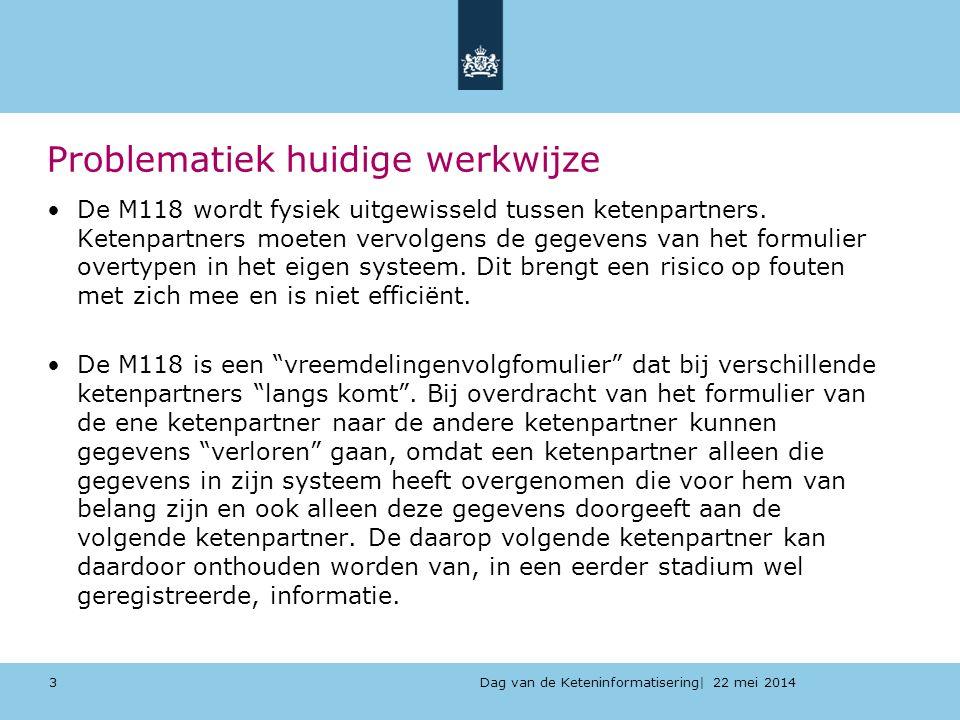 Dag van de Keteninformatisering| 22 mei 2014 Problematiek huidige werkwijze De M118 wordt fysiek uitgewisseld tussen ketenpartners. Ketenpartners moet