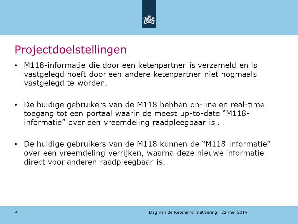 Dag van de Keteninformatisering| 22 mei 2014 Projectdoelstellingen M118-informatie die door een ketenpartner is verzameld en is vastgelegd hoeft door