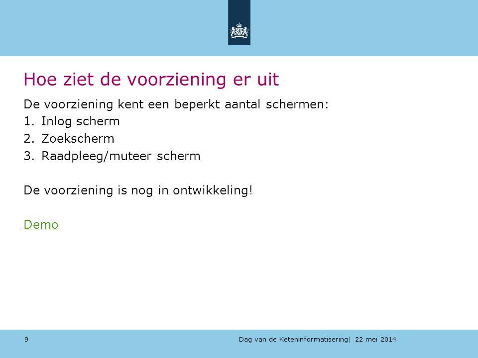 Dag van de Keteninformatisering| 22 mei 2014 Hoe ziet de voorziening er uit De voorziening kent een beperkt aantal schermen: 1.Inlog scherm 2.Zoeksche