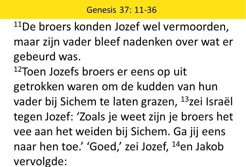 11 De broers konden Jozef wel vermoorden, maar zijn vader bleef nadenken over wat er gebeurd was. 12 Toen Jozefs broers er eens op uit getrokken waren