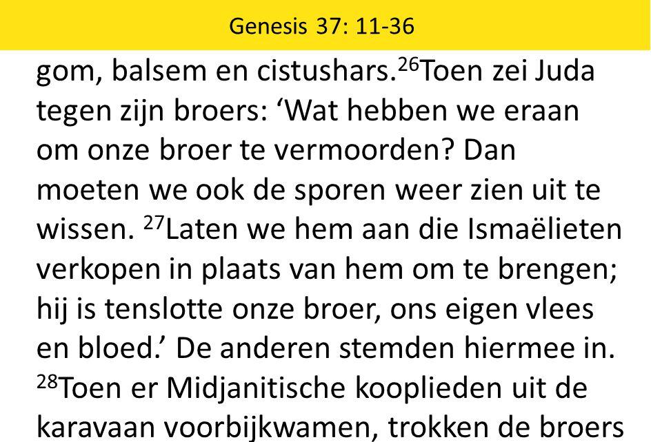 gom, balsem en cistushars. 26 Toen zei Juda tegen zijn broers: 'Wat hebben we eraan om onze broer te vermoorden? Dan moeten we ook de sporen weer zien