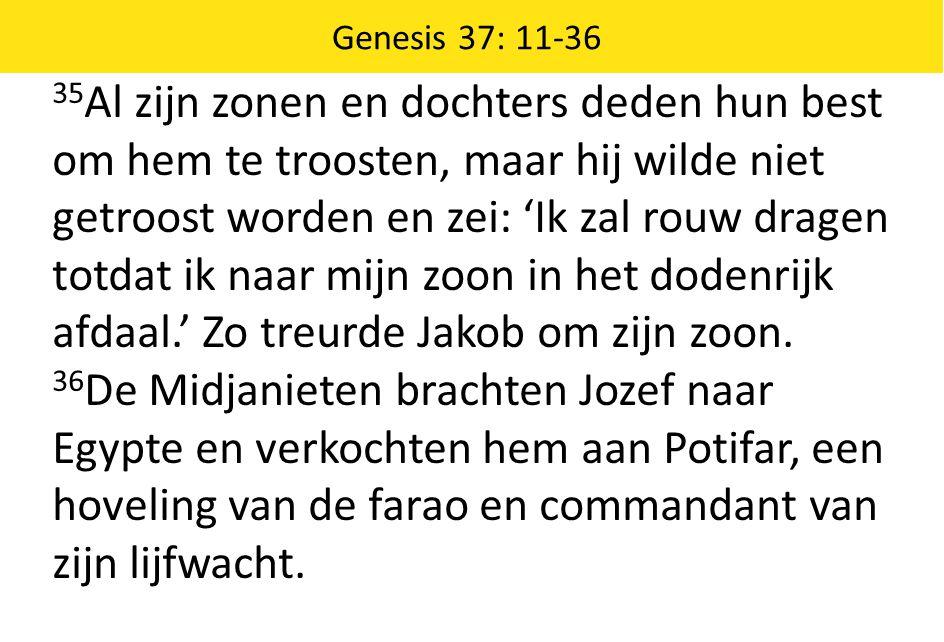 35 Al zijn zonen en dochters deden hun best om hem te troosten, maar hij wilde niet getroost worden en zei: 'Ik zal rouw dragen totdat ik naar mijn zo