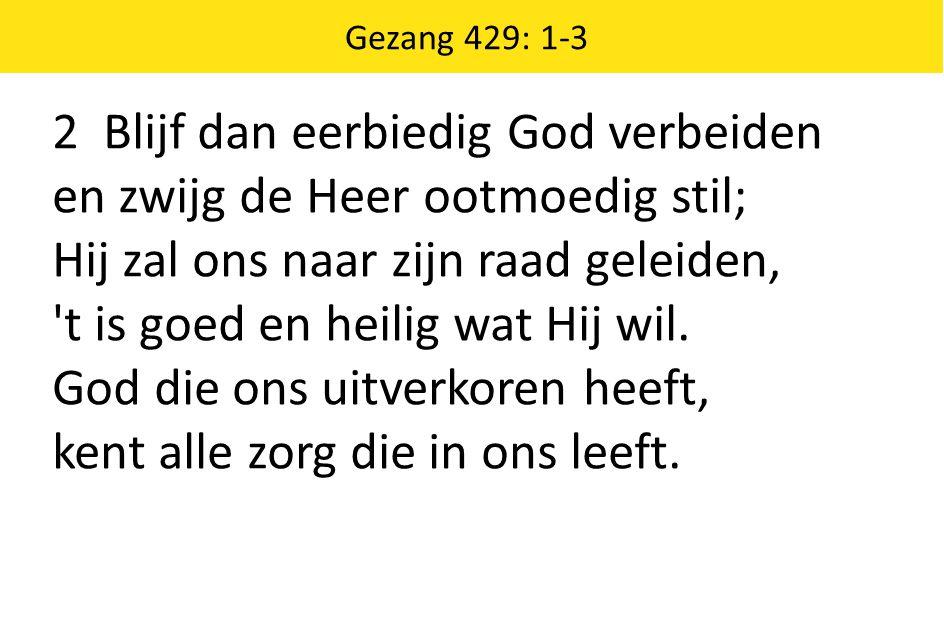 2 Blijf dan eerbiedig God verbeiden en zwijg de Heer ootmoedig stil; Hij zal ons naar zijn raad geleiden, 't is goed en heilig wat Hij wil. God die on