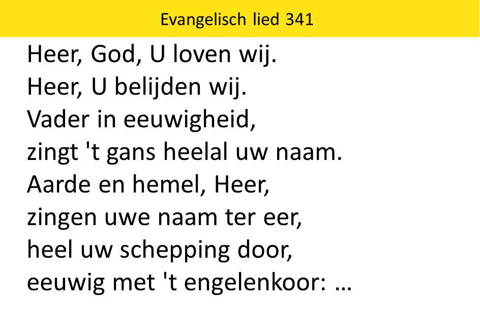 Evangelisch lied 341 Heer, God, U loven wij. Heer, U belijden wij. Vader in eeuwigheid, zingt 't gans heelal uw naam. Aarde en hemel, Heer, zingen uwe