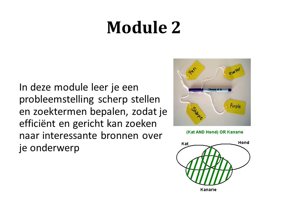 Module 2 In deze module leer je een probleemstelling scherp stellen en zoektermen bepalen, zodat je efficiënt en gericht kan zoeken naar interessante