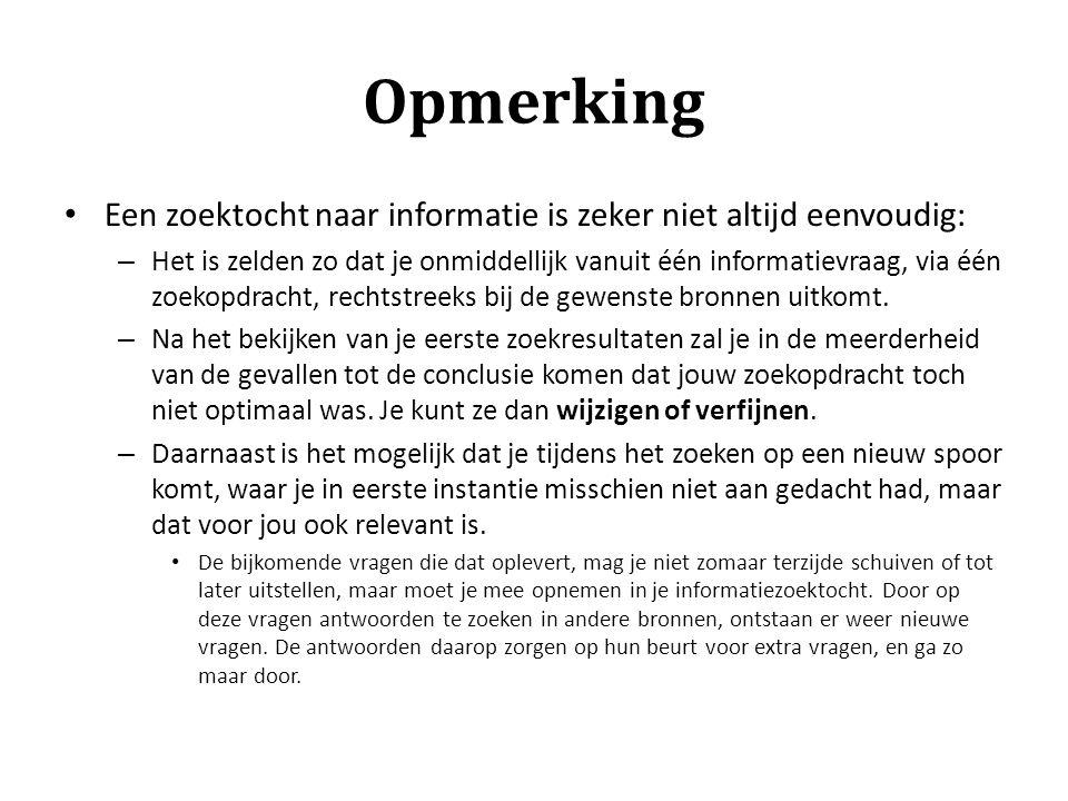 Opmerking Een zoektocht naar informatie is zeker niet altijd eenvoudig: – Het is zelden zo dat je onmiddellijk vanuit één informatievraag, via één zoe