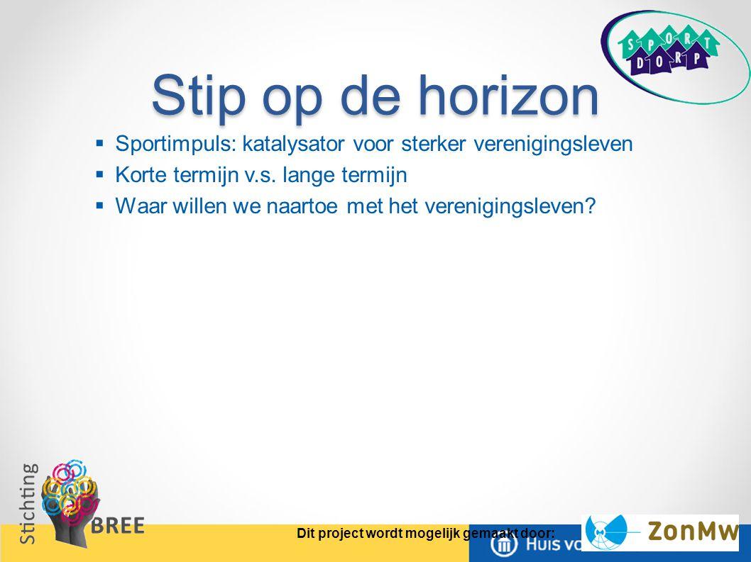 Stip op de horizon  Sportimpuls: katalysator voor sterker verenigingsleven  Korte termijn v.s.