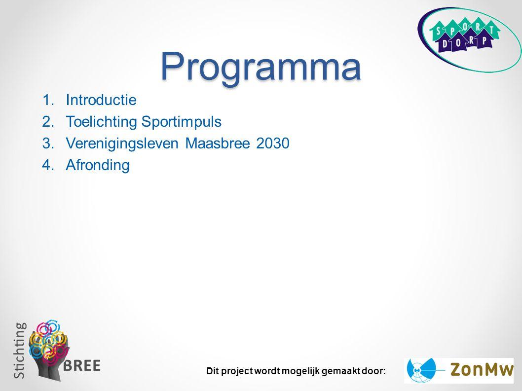Programma 1.Introductie 2.Toelichting Sportimpuls 3.Verenigingsleven Maasbree 2030 4.Afronding Dit project wordt mogelijk gemaakt door:
