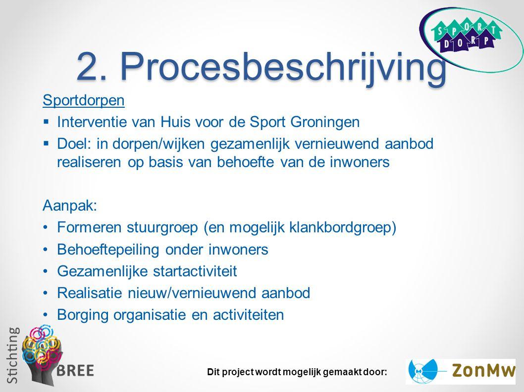 2. Procesbeschrijving Sportdorpen  Interventie van Huis voor de Sport Groningen  Doel: in dorpen/wijken gezamenlijk vernieuwend aanbod realiseren op