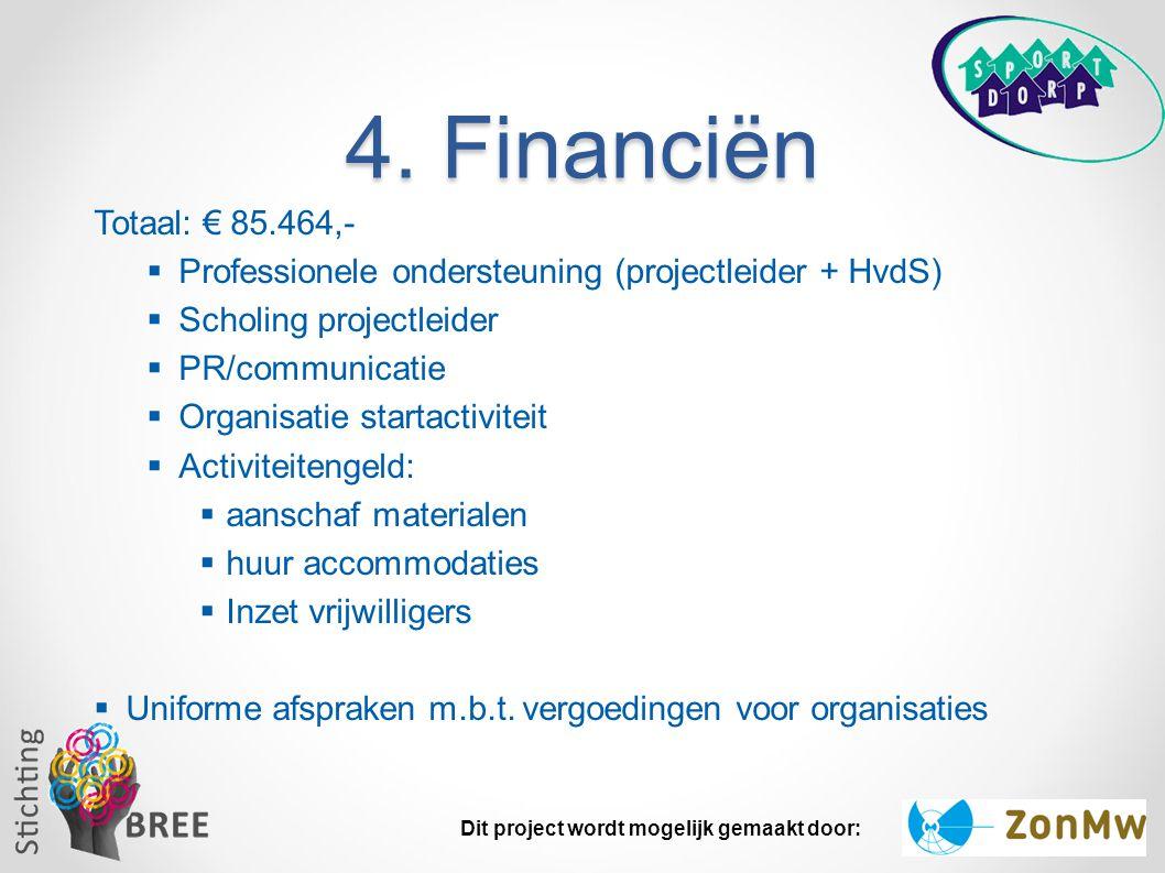 4. Financiën Totaal: € 85.464,-  Professionele ondersteuning (projectleider + HvdS)  Scholing projectleider  PR/communicatie  Organisatie startact