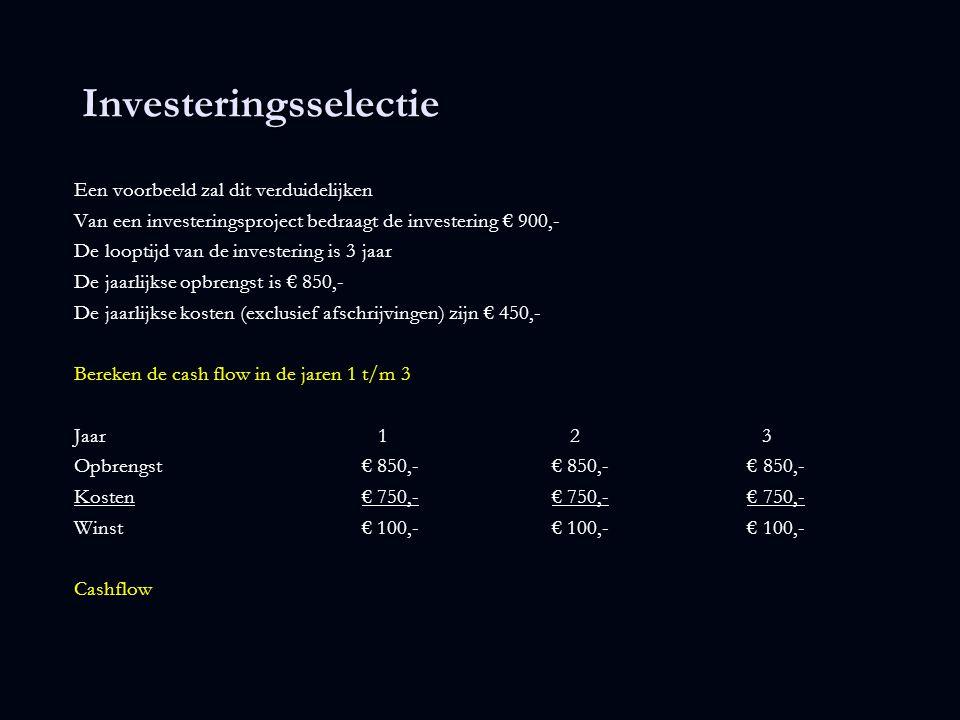 Investeringsselectie Een voorbeeld zal dit verduidelijken Van een investeringsproject bedraagt de investering € 900,- De looptijd van de investering i