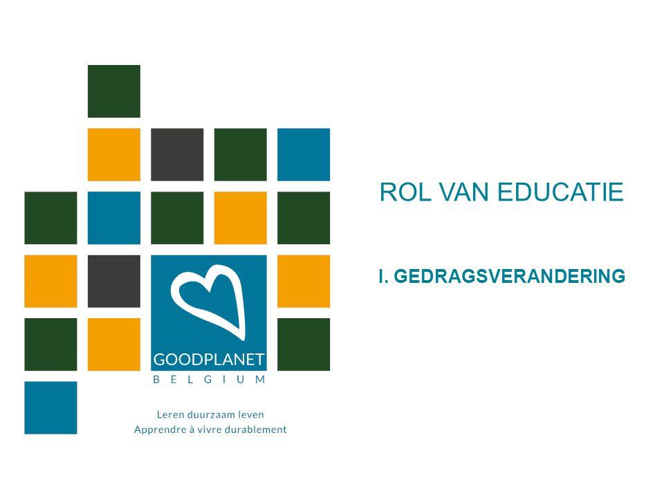 ROL VAN EDUCATIE I. GEDRAGSVERANDERING