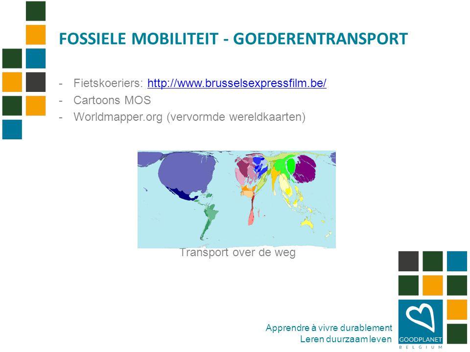 Apprendre à vivre durablement Leren duurzaam leven -Fietskoeriers: http://www.brusselsexpressfilm.be/http://www.brusselsexpressfilm.be/ -Cartoons MOS -Worldmapper.org (vervormde wereldkaarten) Transport over de weg FOSSIELE MOBILITEIT - GOEDERENTRANSPORT