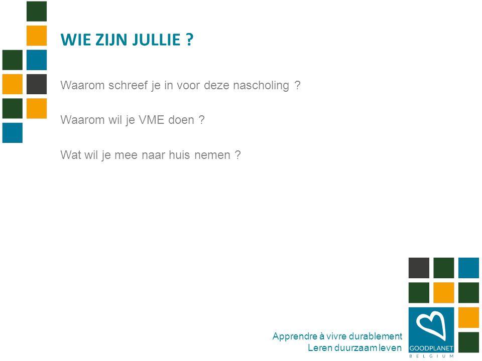 Apprendre à vivre durablement Leren duurzaam leven GoodPlanet Belgium vzw (1997 – GREEN vzw) -Duurzame ontwikkeling -Klimaat -Leefmilieu -Energie -Water -Natuur -Mobiliteit -Duurzame consumptie WIE IS GOODPLANET ?