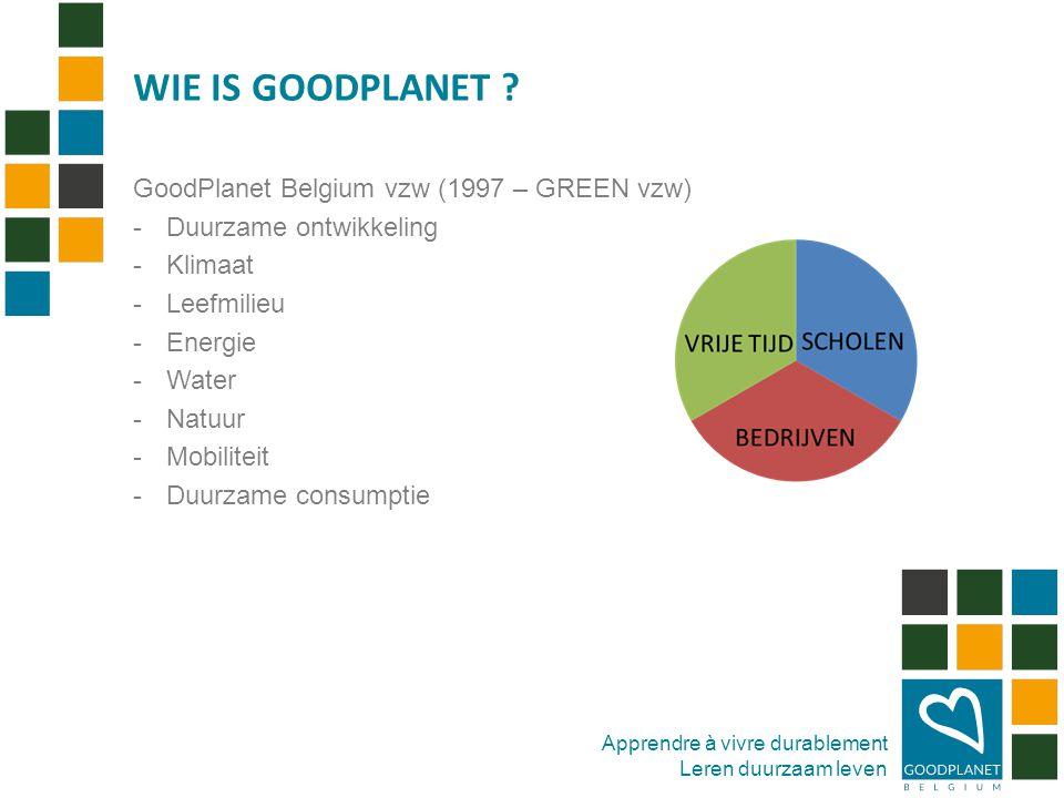 Apprendre à vivre durablement Leren duurzaam leven GoodPlanet Belgium vzw (1997 – GREEN vzw) -Duurzame ontwikkeling -Klimaat -Leefmilieu -Energie -Water -Natuur -Mobiliteit -Duurzame consumptie WIE IS GOODPLANET