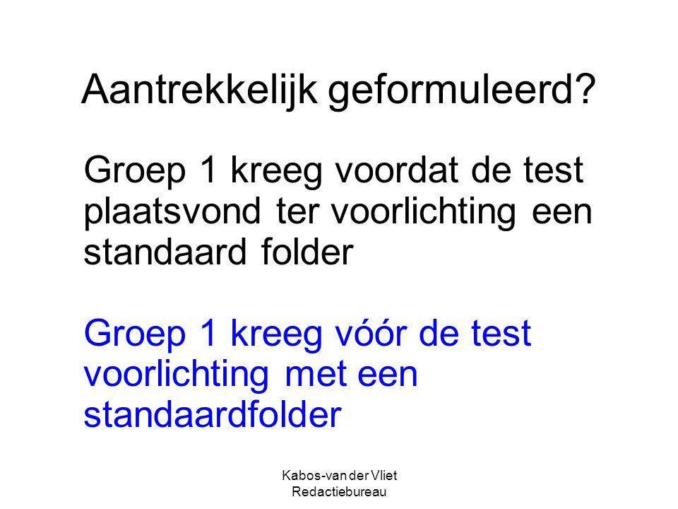 Kabos-van der Vliet Redactiebureau Aantrekkelijk geformuleerd? Groep 1 kreeg voordat de test plaatsvond ter voorlichting een standaard folder Groep 1