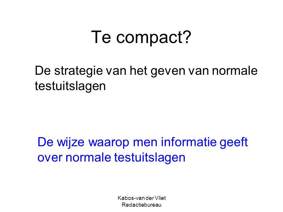Kabos-van der Vliet Redactiebureau Te compact.
