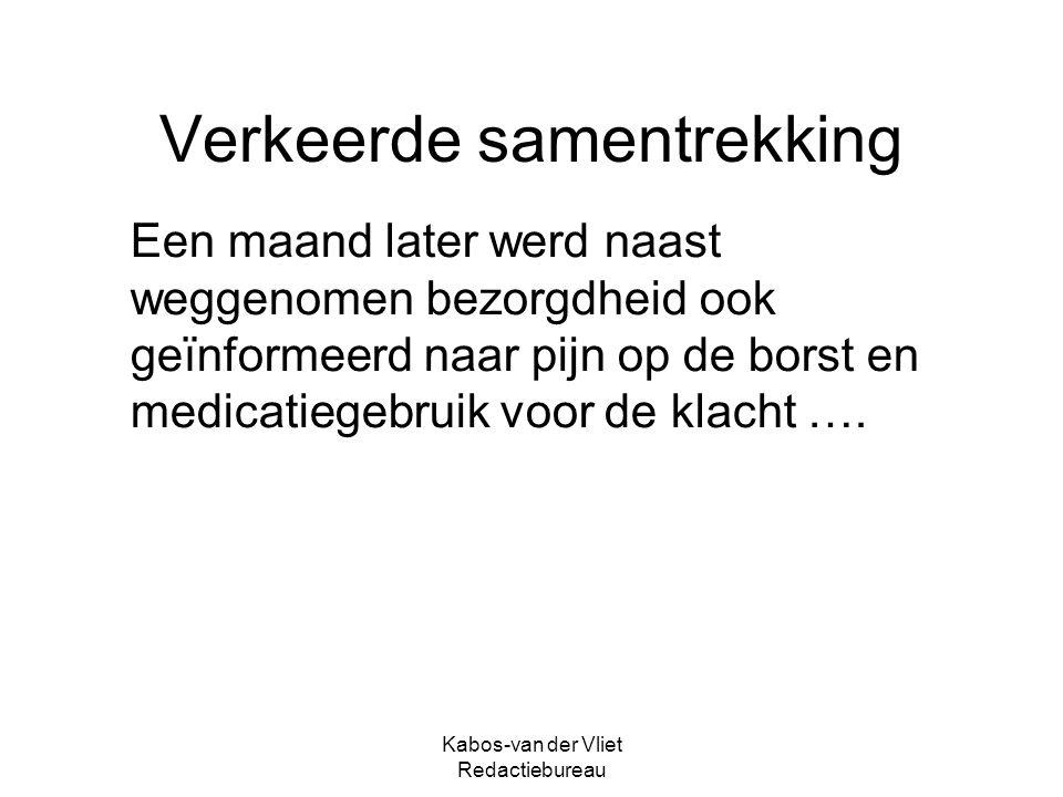 Kabos-van der Vliet Redactiebureau Verkeerde samentrekking Een maand later werd naast weggenomen bezorgdheid ook geïnformeerd naar pijn op de borst en medicatiegebruik voor de klacht ….