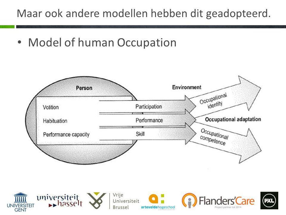 Maar ook andere modellen hebben dit geadopteerd. Model of human Occupation