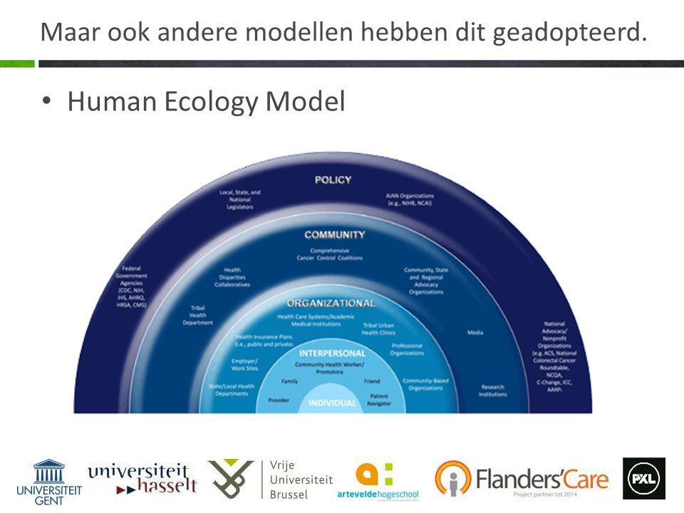 Maar ook andere modellen hebben dit geadopteerd. Human Ecology Model