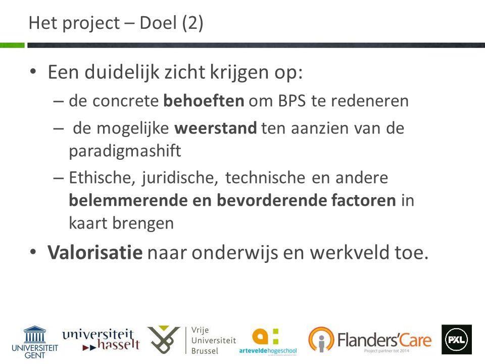 Het project – Doel (2) Een duidelijk zicht krijgen op: – de concrete behoeften om BPS te redeneren – de mogelijke weerstand ten aanzien van de paradig