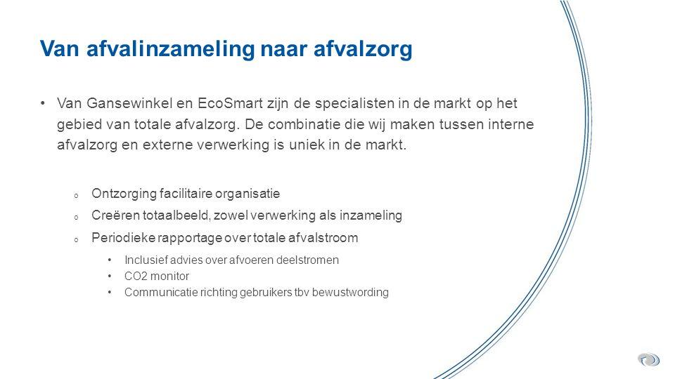 Van afvalinzameling naar afvalzorg Van Gansewinkel en EcoSmart zijn de specialisten in de markt op het gebied van totale afvalzorg.