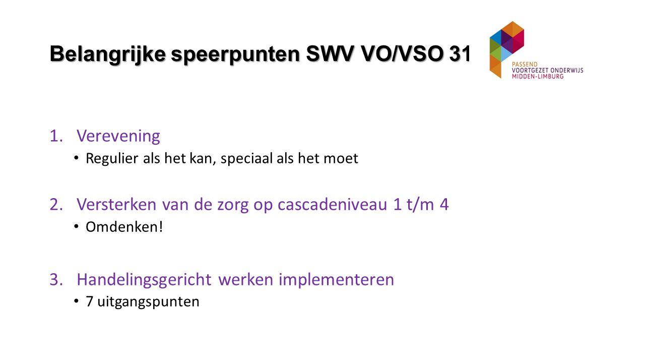 Belangrijke speerpunten SWV VO/VSO 31.02 1.Verevening Regulier als het kan, speciaal als het moet 2.Versterken van de zorg op cascadeniveau 1 t/m 4 Omdenken.