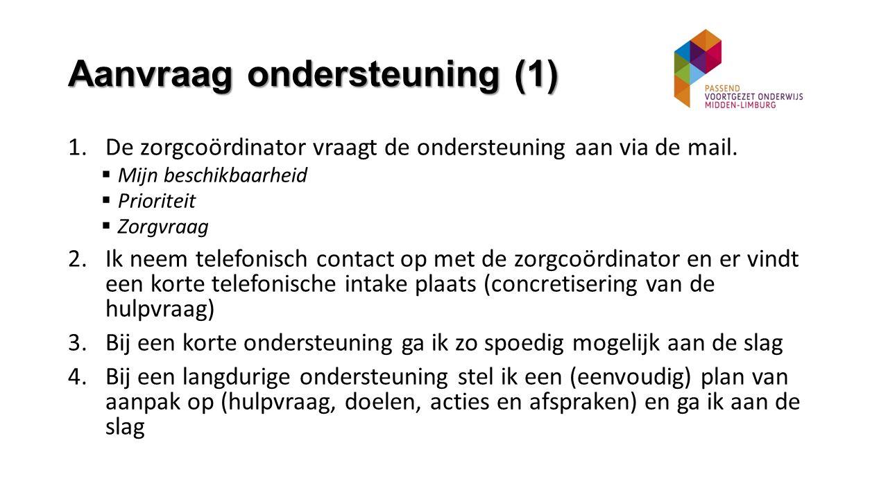 Aanvraag ondersteuning (1) 1.De zorgcoördinator vraagt de ondersteuning aan via de mail.