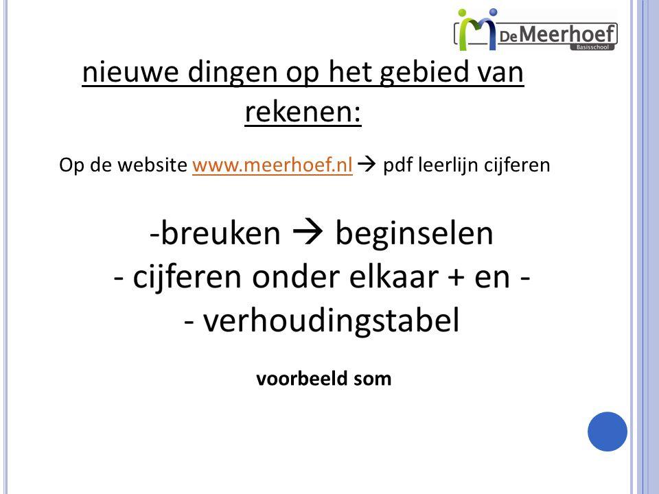 nieuwe dingen op het gebied van rekenen: Op de website www.meerhoef.nl  pdf leerlijn cijferenwww.meerhoef.nl voorbeeld som