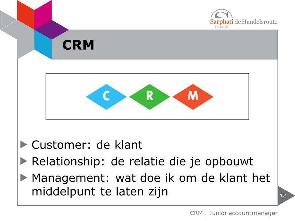 Customer: de klant Relationship: de relatie die je opbouwt Management: wat doe ik om de klant het middelpunt te laten zijn 12 CRM | Junior accountmanager CRM