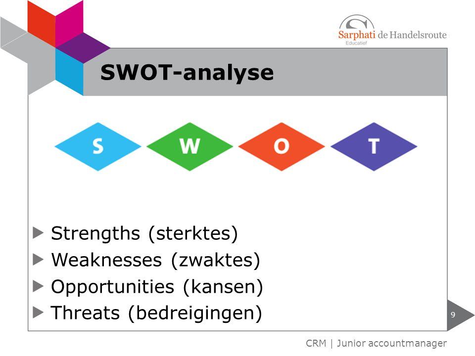 Strengths (sterktes) Weaknesses (zwaktes) Opportunities (kansen) Threats (bedreigingen) 9 CRM | Junior accountmanager SWOT-analyse