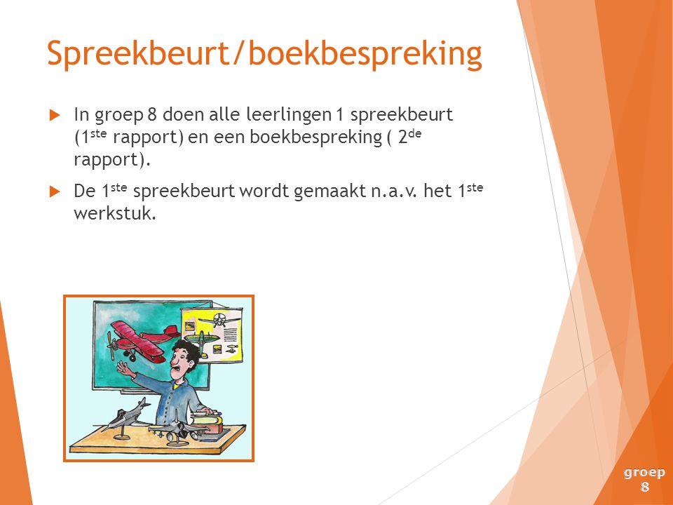  In groep 8 doen alle leerlingen 1 spreekbeurt (1 ste rapport) en een boekbespreking ( 2 de rapport).  De 1 ste spreekbeurt wordt gemaakt n.a.v. het