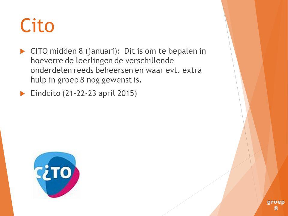  CITO midden 8 (januari): Dit is om te bepalen in hoeverre de leerlingen de verschillende onderdelen reeds beheersen en waar evt. extra hulp in groep