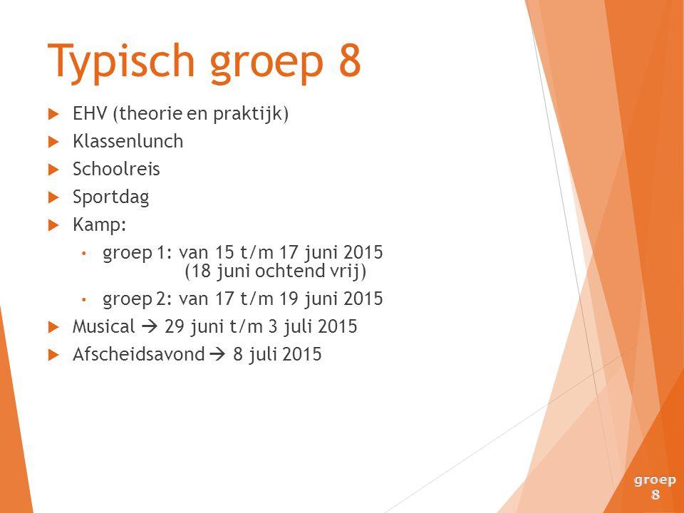  EHV (theorie en praktijk)  Klassenlunch  Schoolreis  Sportdag  Kamp: groep 1: van 15 t/m 17 juni 2015 (18 juni ochtend vrij) groep 2: van 17 t/m