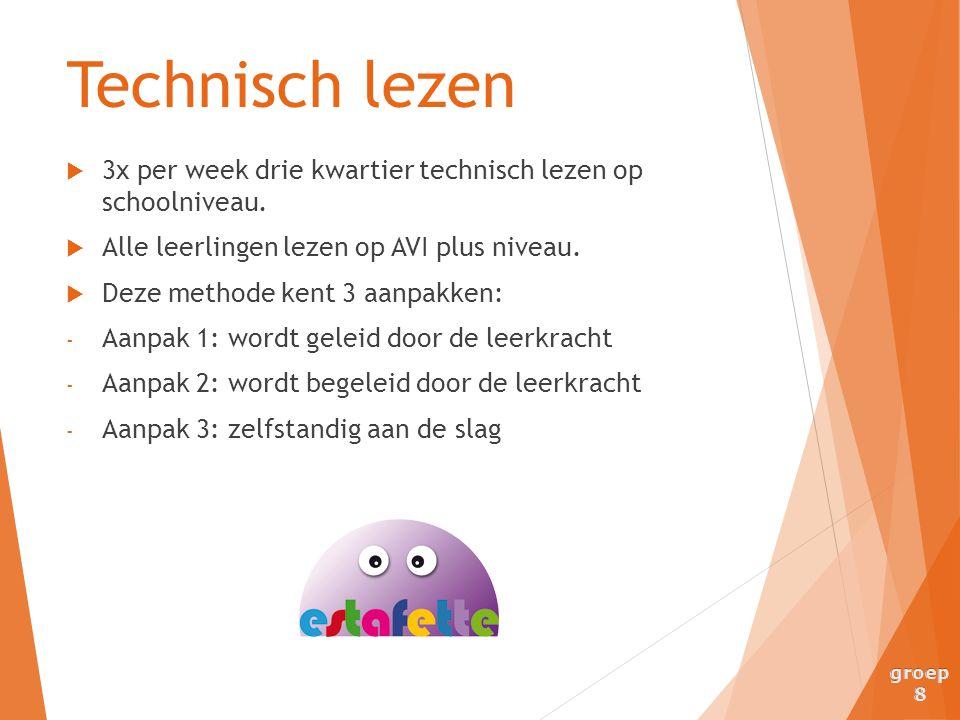  3x per week drie kwartier technisch lezen op schoolniveau.  Alle leerlingen lezen op AVI plus niveau.  Deze methode kent 3 aanpakken: - Aanpak 1: