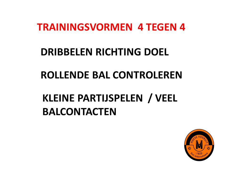 TRAININGSVORMEN 4 TEGEN 4 DRIBBELEN RICHTING DOEL ROLLENDE BAL CONTROLEREN KLEINE PARTIJSPELEN / VEEL BALCONTACTEN