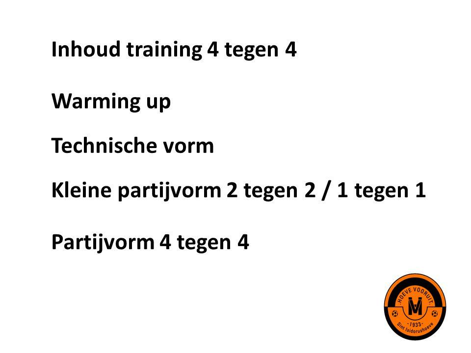 Inhoud training 4 tegen 4 Warming up Technische vorm Kleine partijvorm 2 tegen 2 / 1 tegen 1 Partijvorm 4 tegen 4