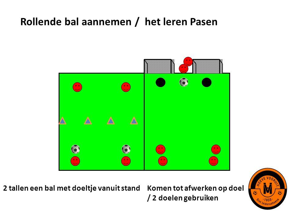 Rollende bal aannemen / het leren Pasen 2 tallen een bal met doeltje vanuit standKomen tot afwerken op doel / 2 doelen gebruiken