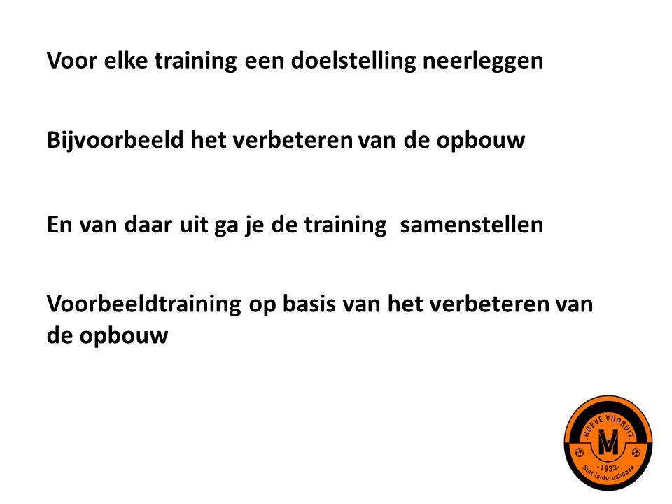 Voor elke training een doelstelling neerleggen Bijvoorbeeld het verbeteren van de opbouw En van daar uit ga je de training samenstellen Voorbeeldtrain