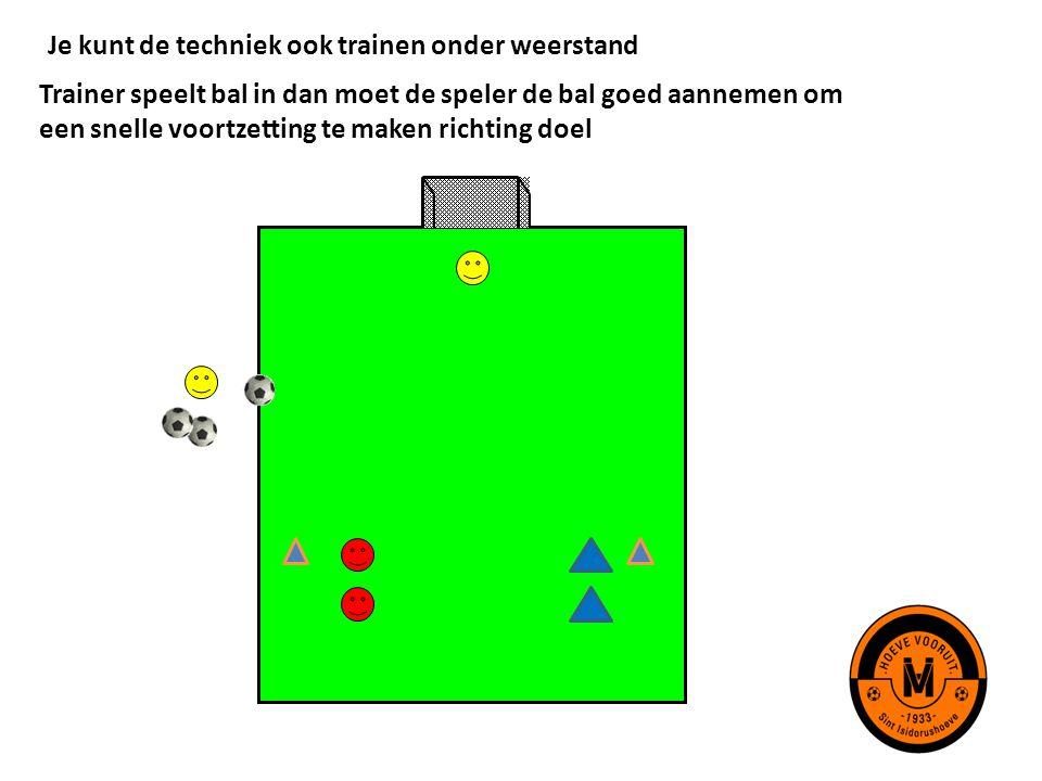 Je kunt de techniek ook trainen onder weerstand Trainer speelt bal in dan moet de speler de bal goed aannemen om een snelle voortzetting te maken rich