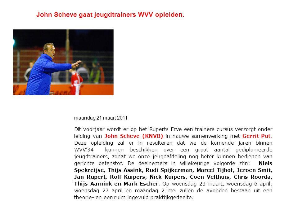 John Scheve gaat jeugdtrainers WVV opleiden. maandag 21 maart 2011 Dit voorjaar wordt er op het Ruperts Erve een trainers cursus verzorgt onder leidin