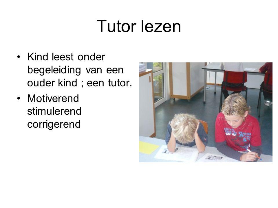 Tutor lezen Kind leest onder begeleiding van een ouder kind ; een tutor. Motiverend stimulerend corrigerend