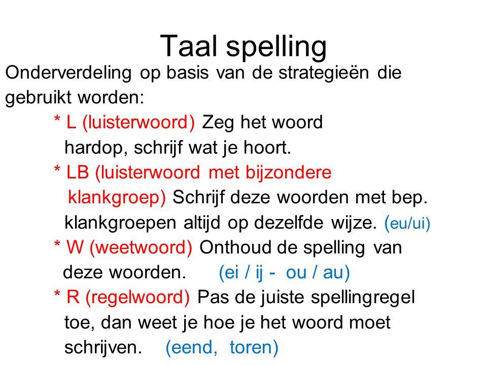 Taal spelling Onderverdeling op basis van de strategieën die gebruikt worden: * L (luisterwoord) Zeg het woord hardop, schrijf wat je hoort. * LB (lui
