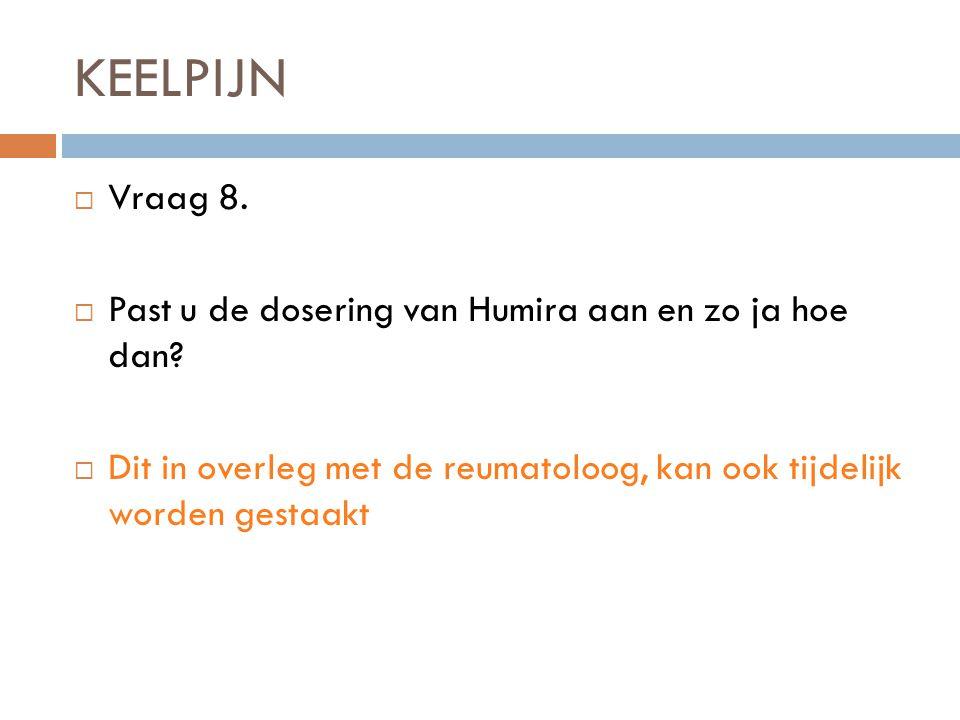 KEELPIJN  Vraag 8. Past u de dosering van Humira aan en zo ja hoe dan.