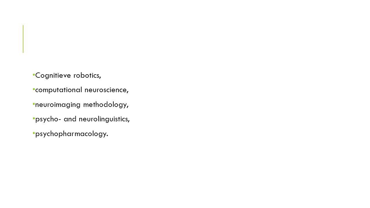 Cognitieve robotics, computational neuroscience, neuroimaging methodology, psycho- and neurolinguistics, psychopharmacology.